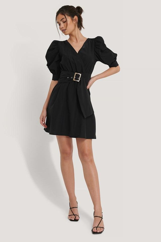 Puff Sleeve Belted Mini Dress Black