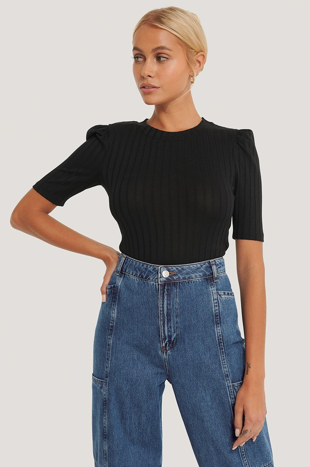 Black Puff Sleeve Cropped Ribbed Top