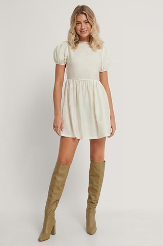 White Puff Sleeves Gathered Skirt Dress
