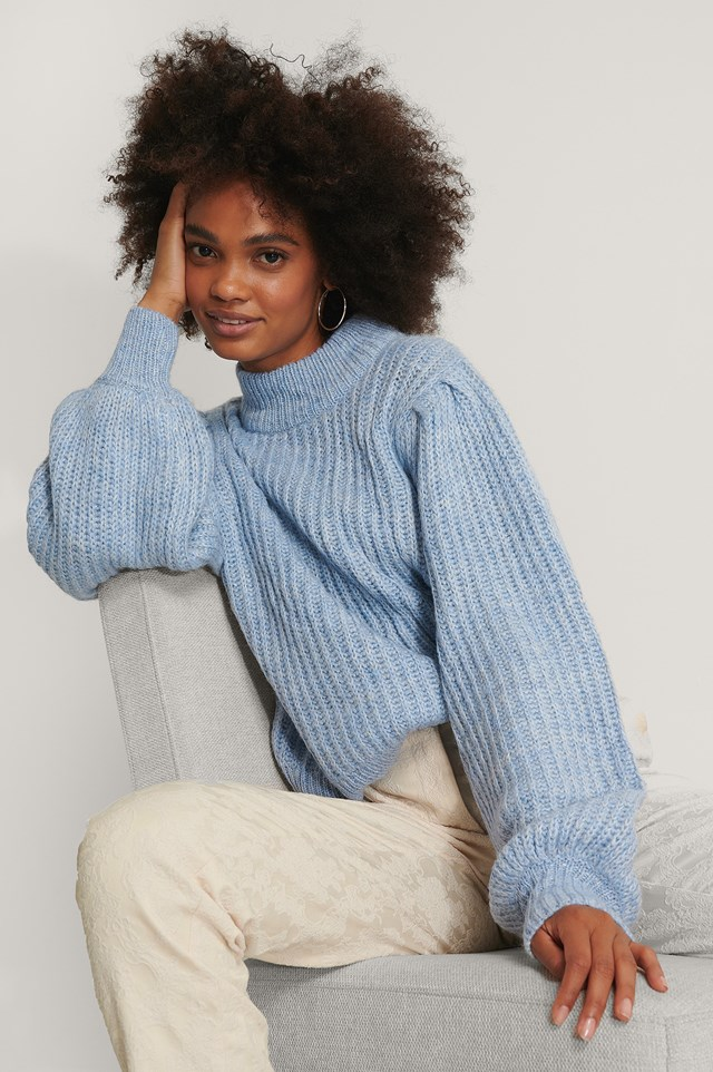 Puff Sleeve Knitted Sweater Light Blue