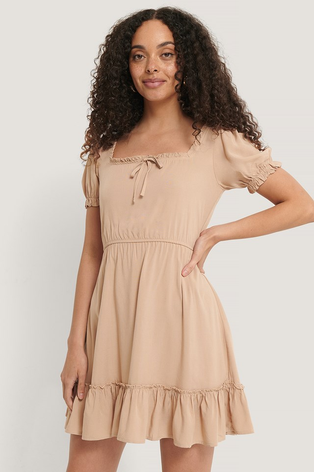 Beige Puff Sleeve Mini Dress