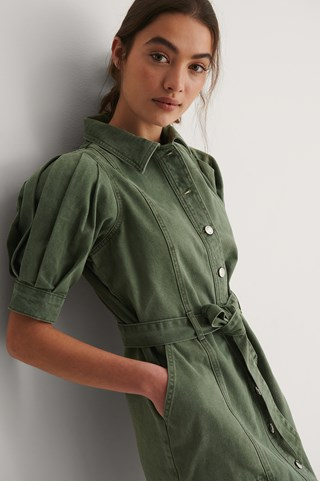 Green Organic Puff Sleeve Open Hem Denim Dress