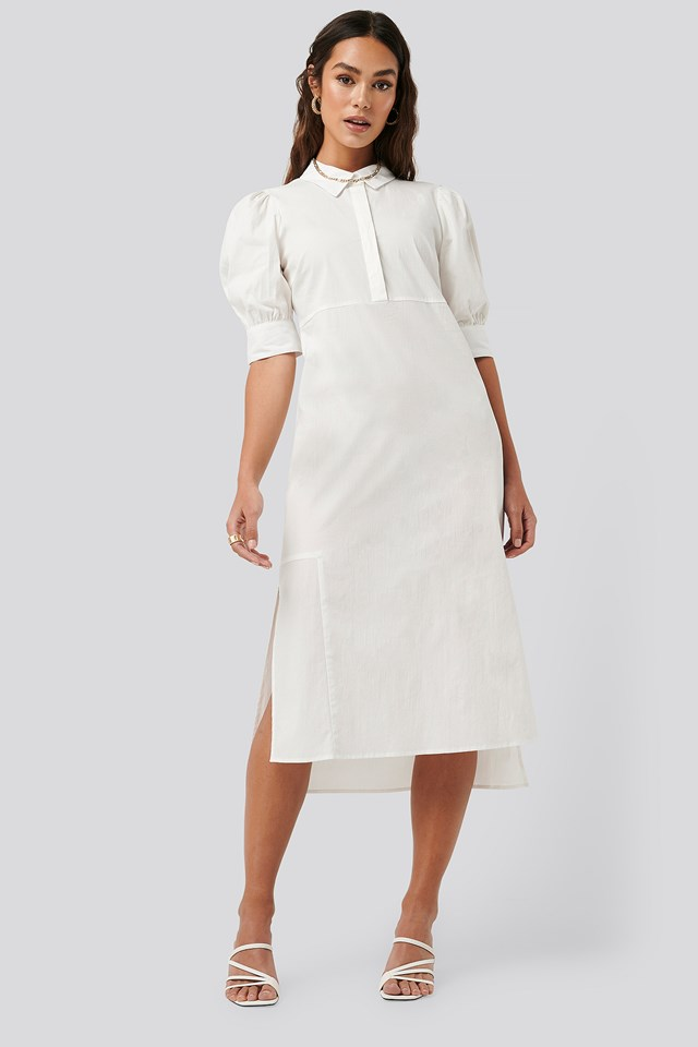 Puff Sleeve Panel Dress White