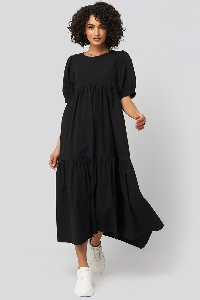 Puff Sleeve Pleated Tiered Midi Dress Black