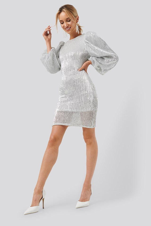 Puff Sleeve Sequin Mini Dress Silver
