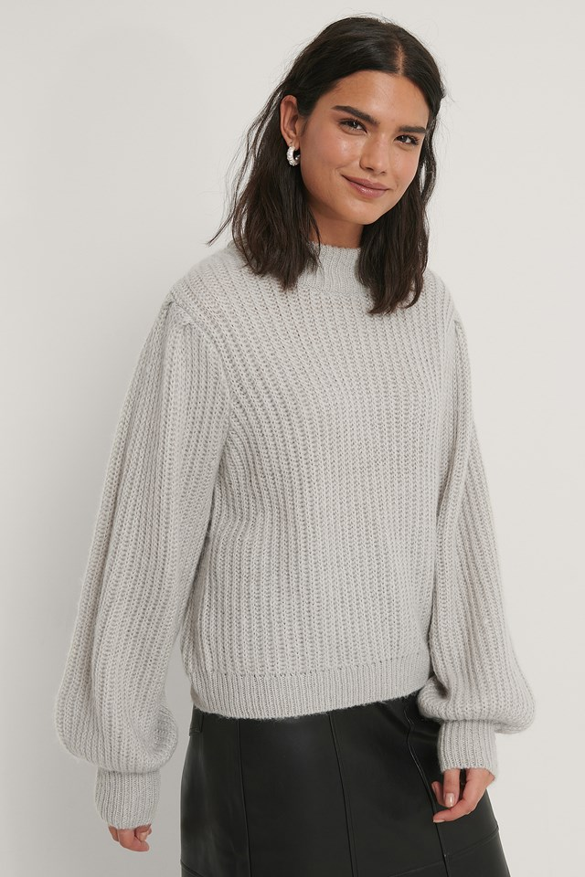 Puff Sleeve Knitted Sweater Light Grey