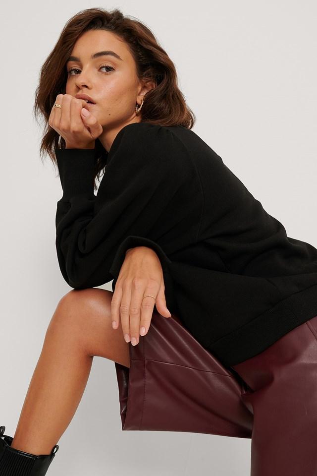 Puff Sleeve Split Cuff Sweatshirt Black