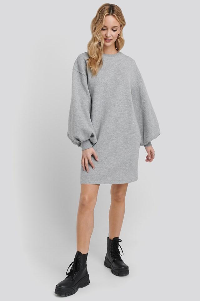 Puff Sleeve Sweatshirt Dress Grey Marl