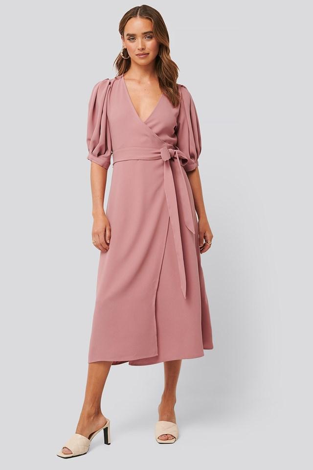 Puff Sleeve Wrap Midi Dress Dusty Rose