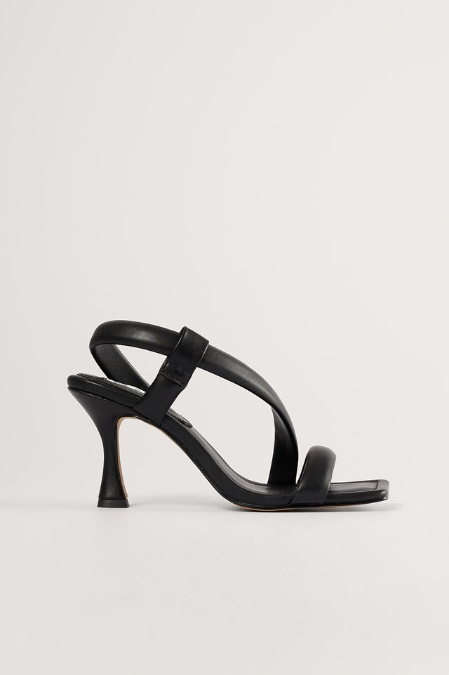 Black Puffy Heeled Sandals