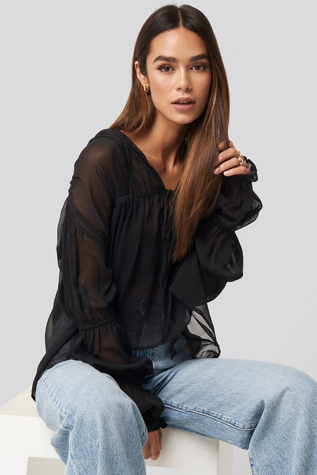 Puffy Sleeve Draped Chiffon Blouse NA-KD Trend