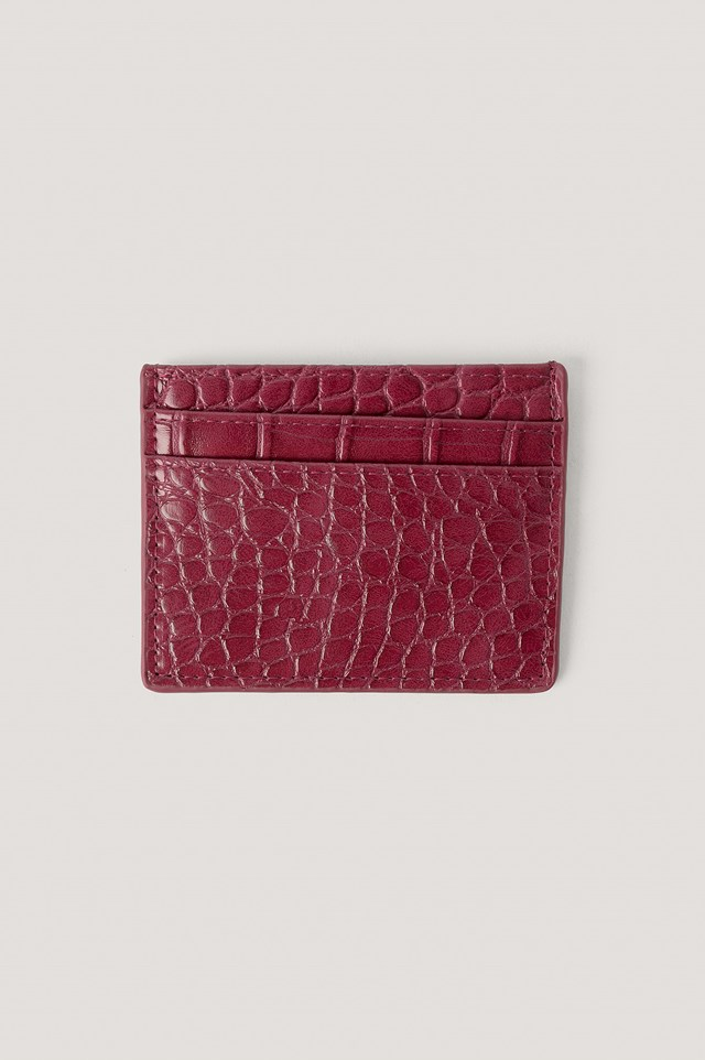 Quilted Card Holder Wine Red