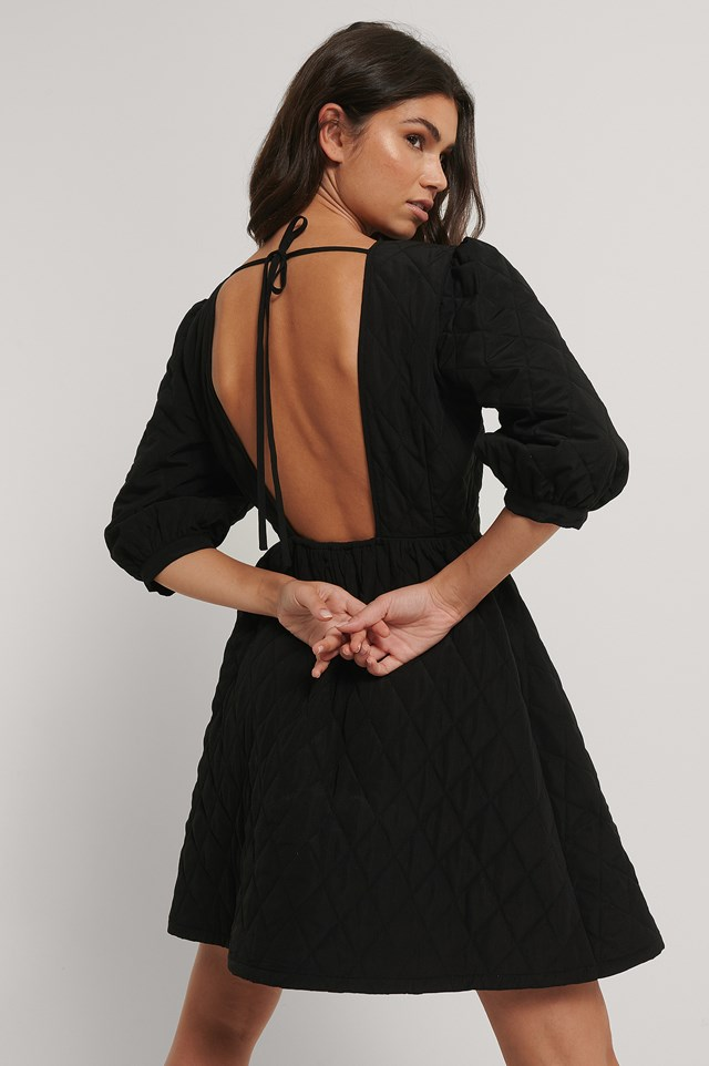 Quilted Open Back Mini Dress Black
