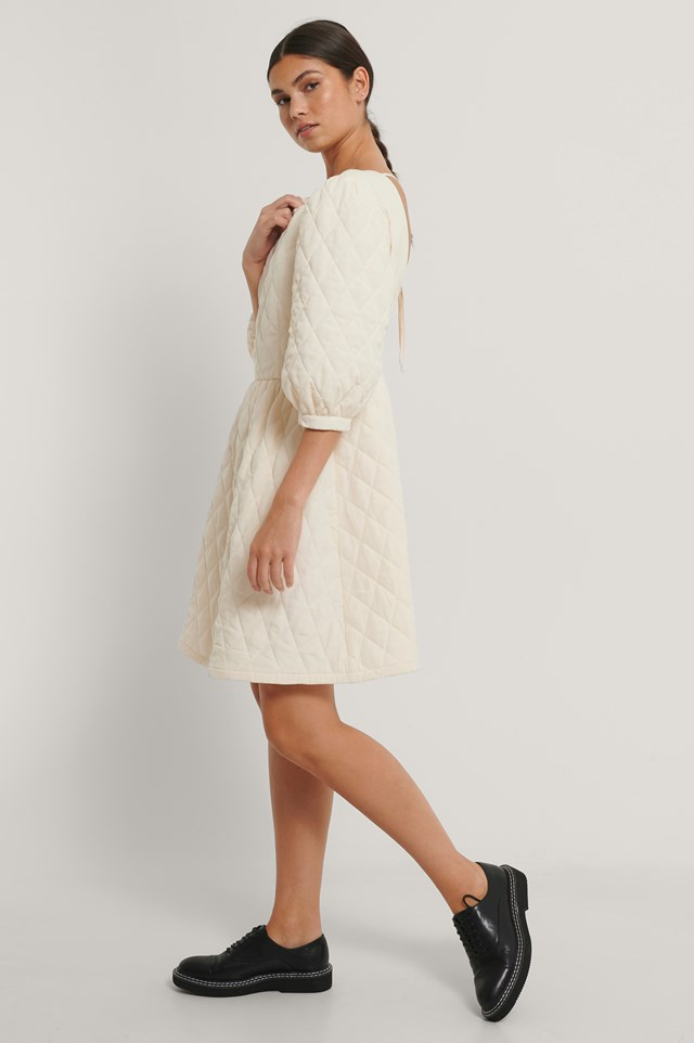 Quilted Open Back Mini Dress Cream