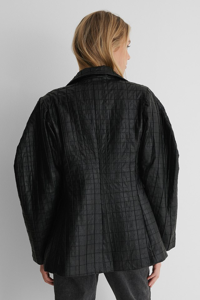 Quilted PU Blazer Black