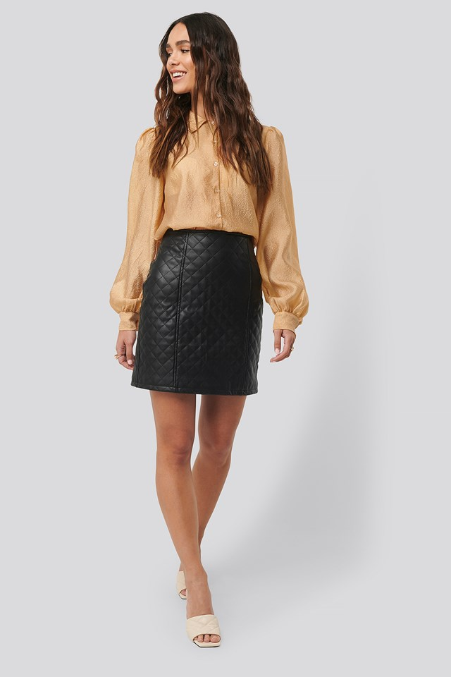 Quilted PU Skirt NA-KD