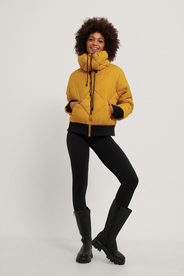 Yellow Quilted Puffa Jacket
