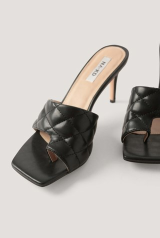 Black Quilted Toe Ring Mules