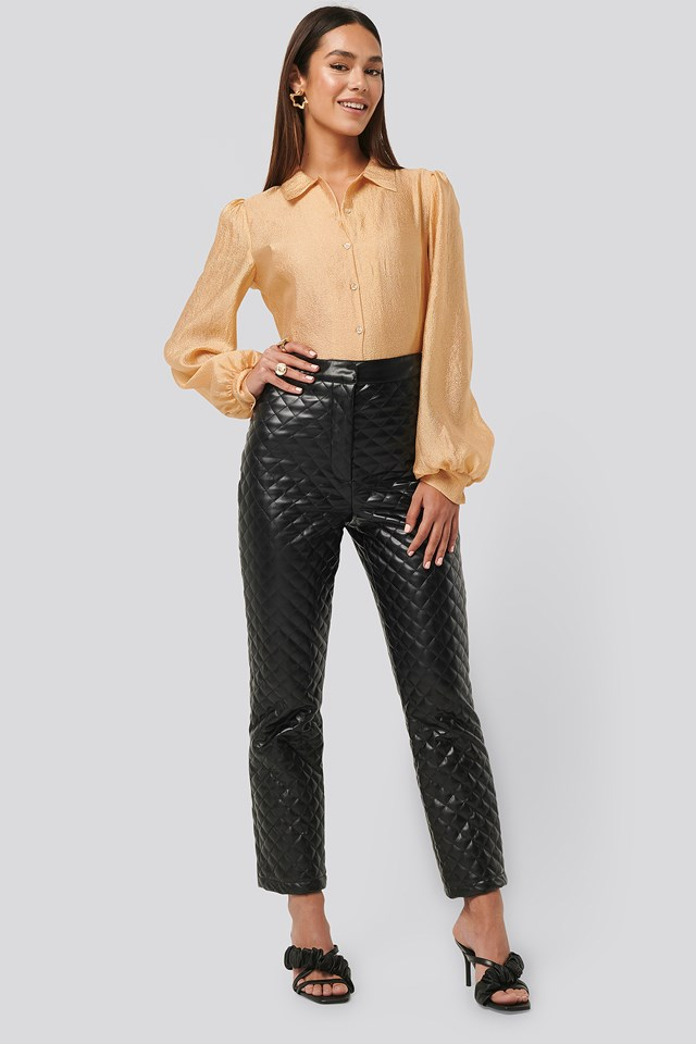 Black Quilted PU Pants