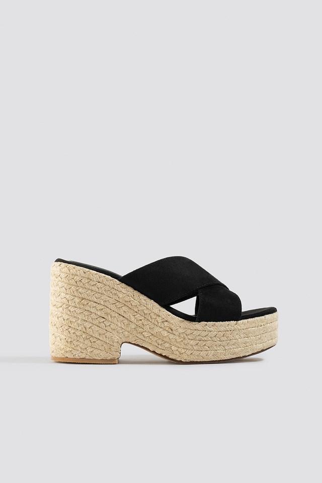 Raffia Block Heel Sandals Black