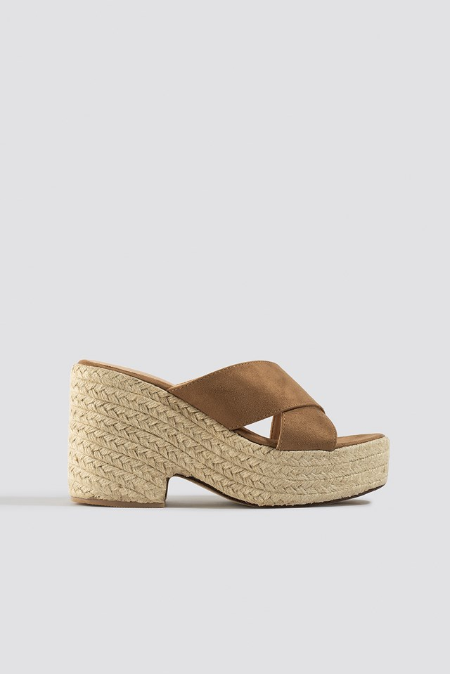 Raffia Block Heel Sandals NA-KD Shoes