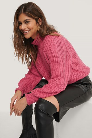 Pink Raglan Sleeve High Neck Knitted Sweater
