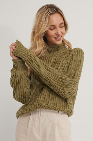 Khaki Raglan Sleeve High Neck Knitted Sweater