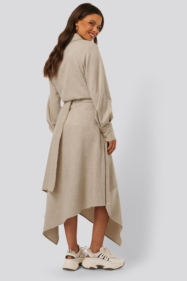 Raw Edge Asymmetric Skirt Beige