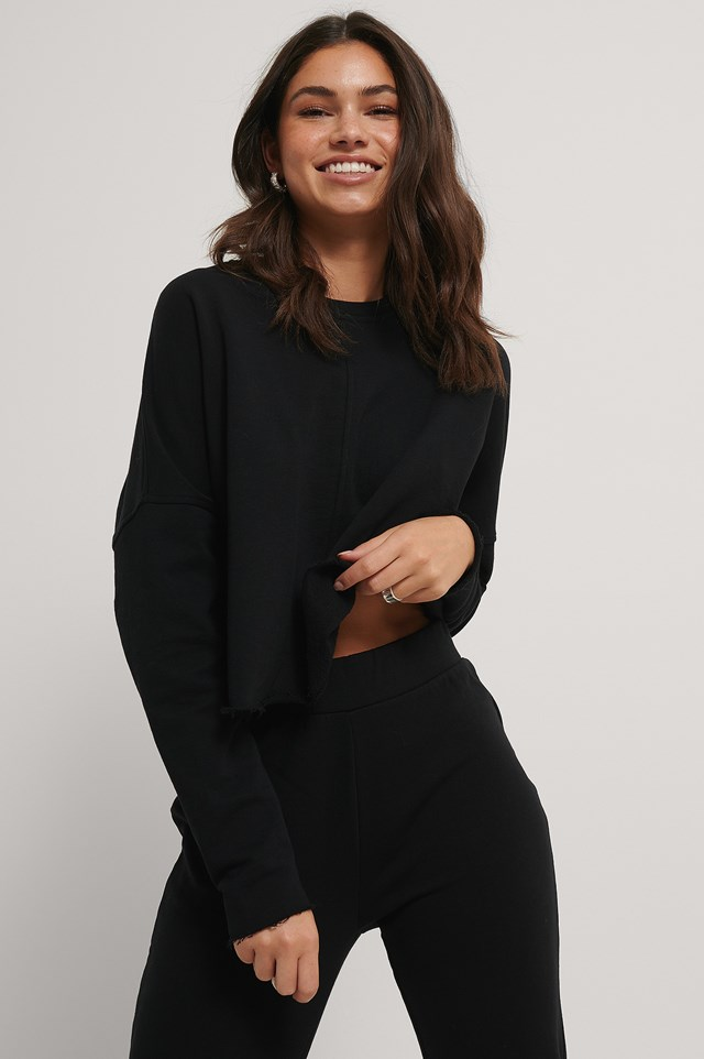 Raw Edge Cropped Sweater Black