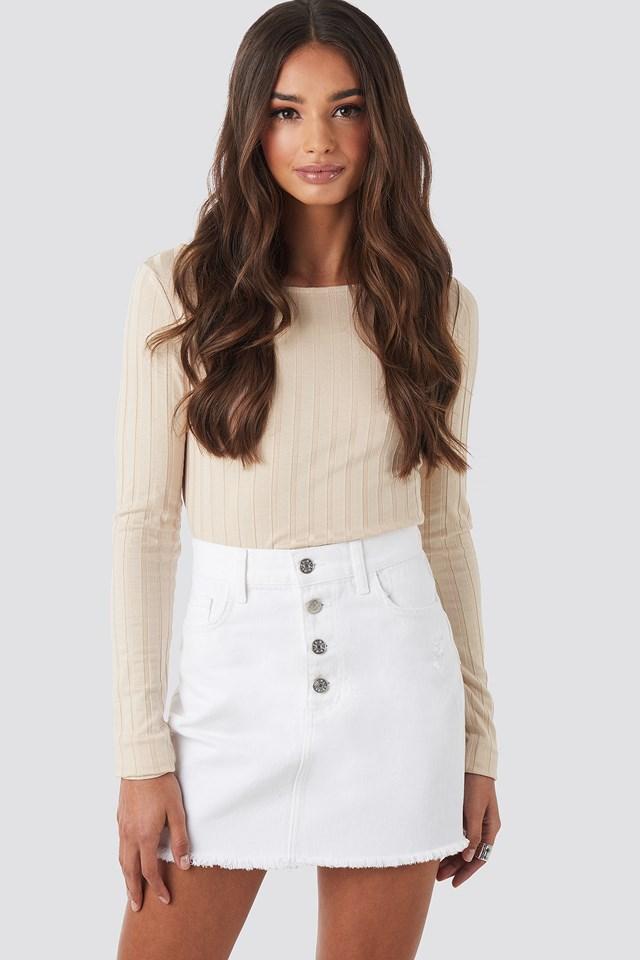 Raw Hem Button Up Mini Skirt NA-KD