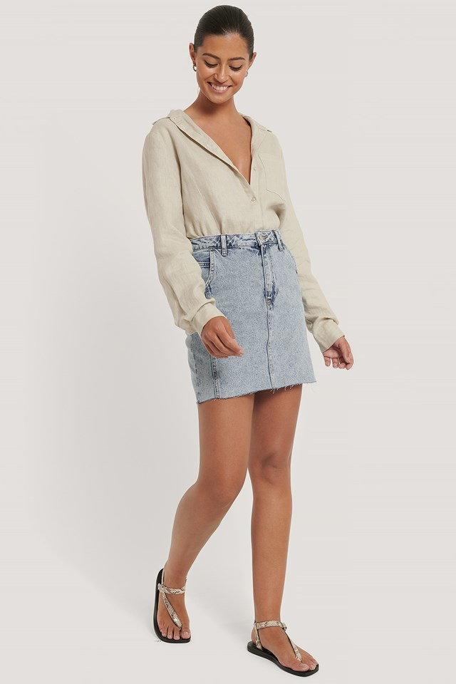 Raw Hem Denim Mini Skirt Blue Wash