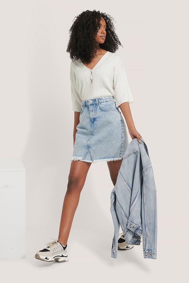 Raw Hem Denim Skirt Light Blue