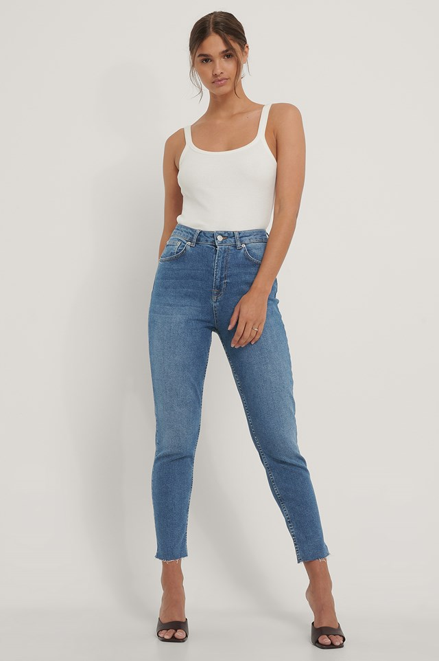 Raw Hem Mom Jeans Mid Blue