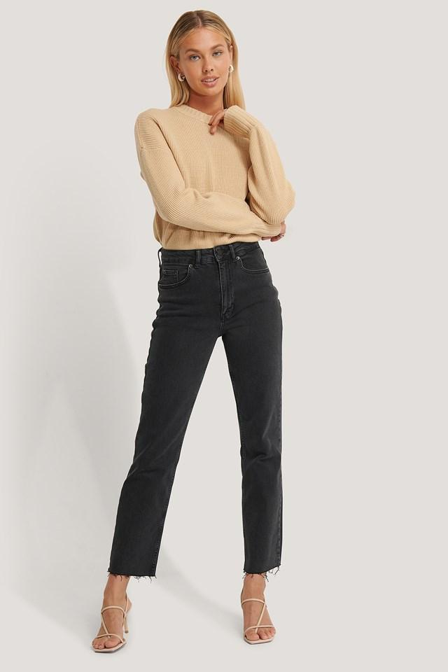 Raw Hem Straight Jeans Washed Black