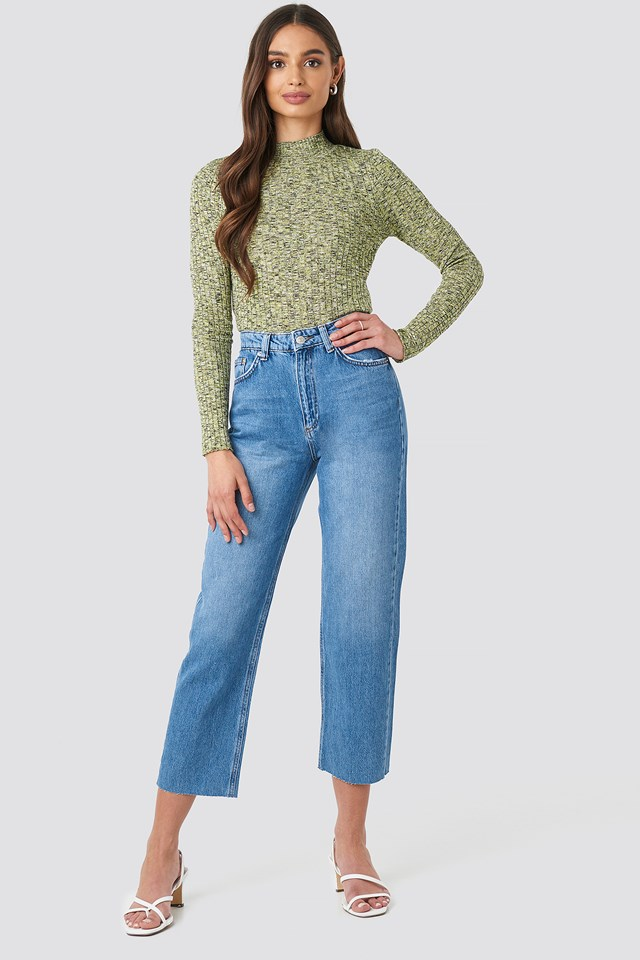 Raw Hem Straight Jeans Light Blue