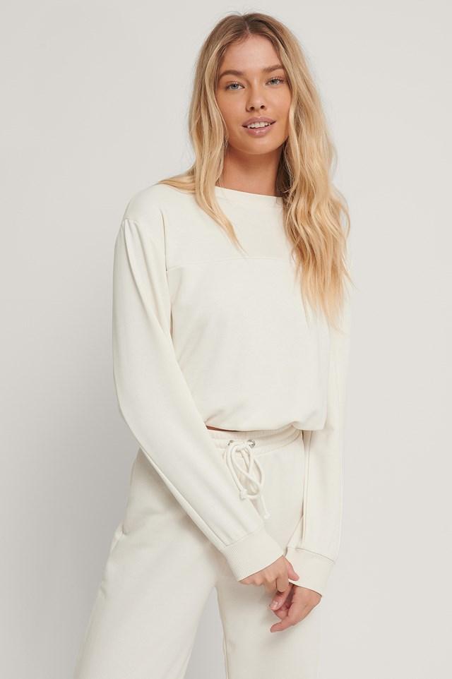 Cropped Drawstring Sweatshirt Offwhite
