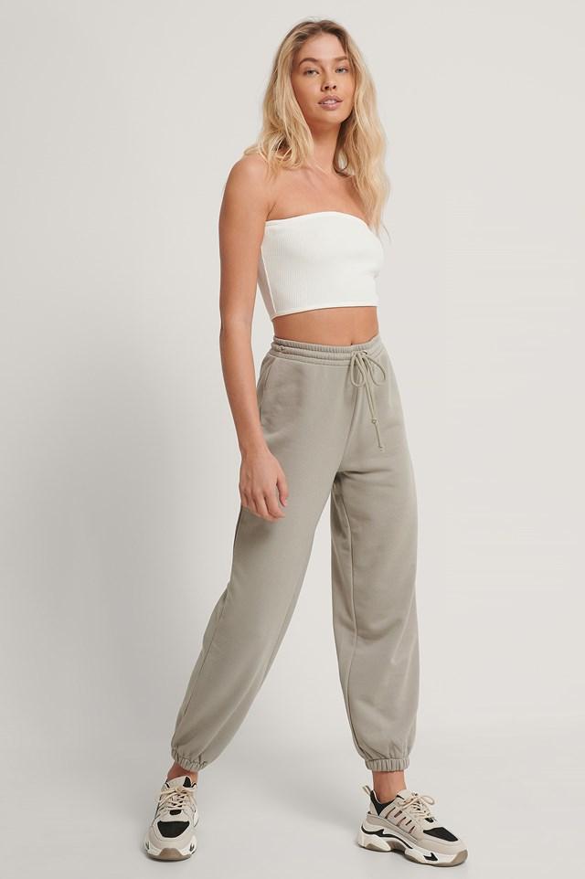 Drawstring Elastic Sweatpants Grey