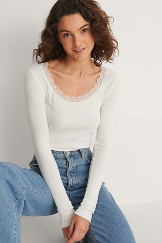 Offwhite Recycled Lace Detail Rib Top