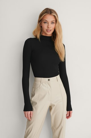 Black Recycled Ribbed Turtleneck Top