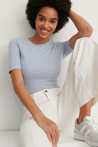 Stone Blue Recycled Round Neck Ribbed Top