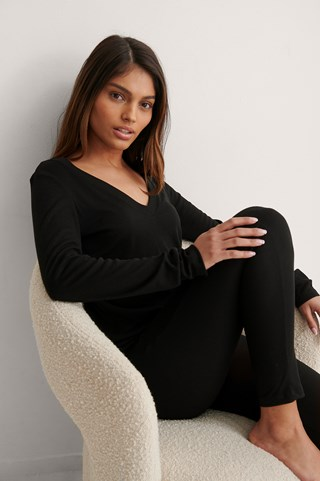 Black Recycled Soft Ribbed V-Neck Top