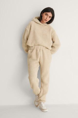 Beige Recycled Teddy Sweatpants