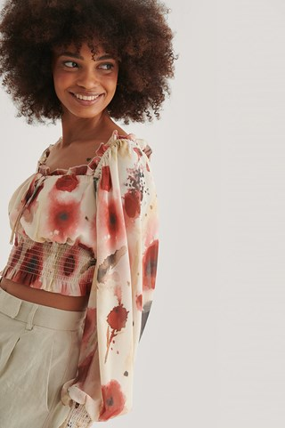 Watercolor Print Recycled Squared Neck Blouse