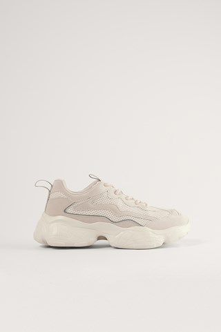 Nude Reflective Detailed Trainers