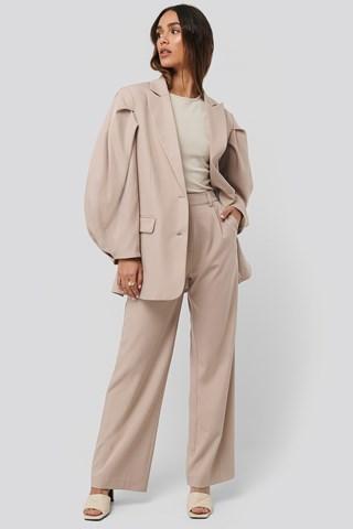 Beige Relaxed Fit Suit Pants