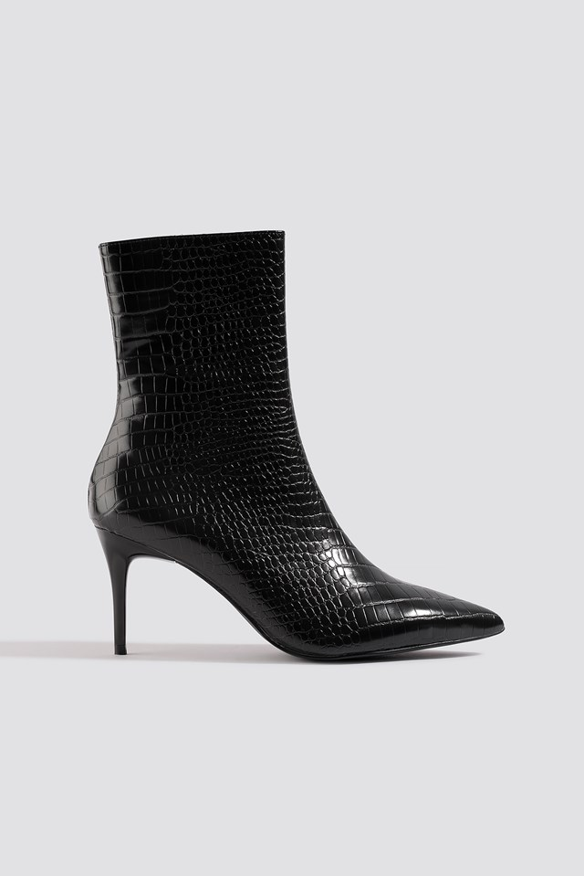 Reptile Pointy Boots NA-KD Shoes