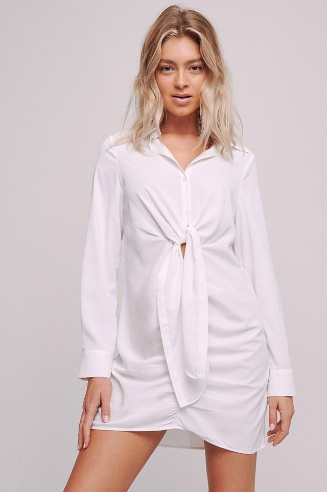 Front Draped Mini Dress Offwhite