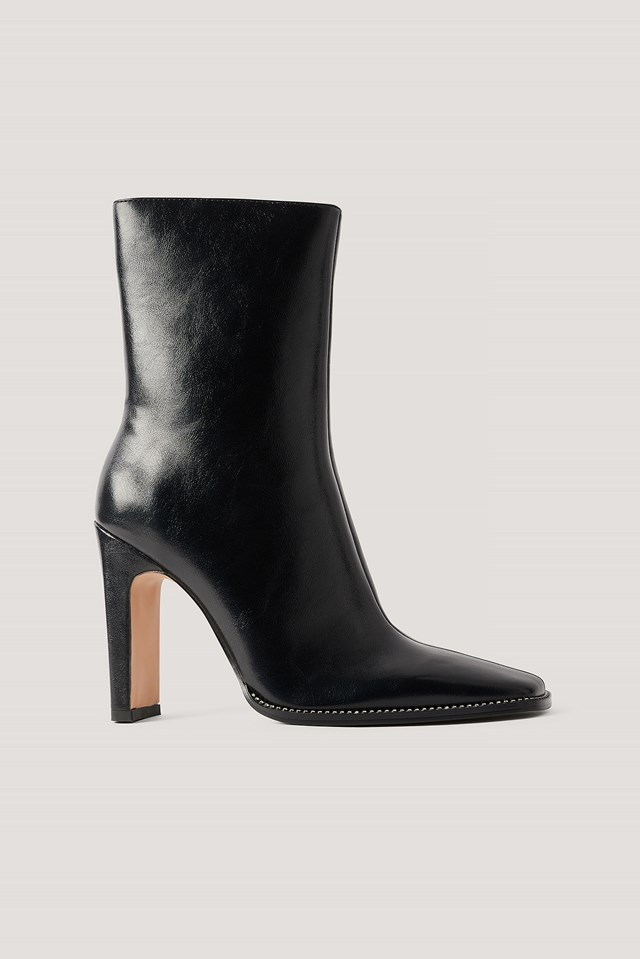 Black Rhinestone Detailed High Heel Boots