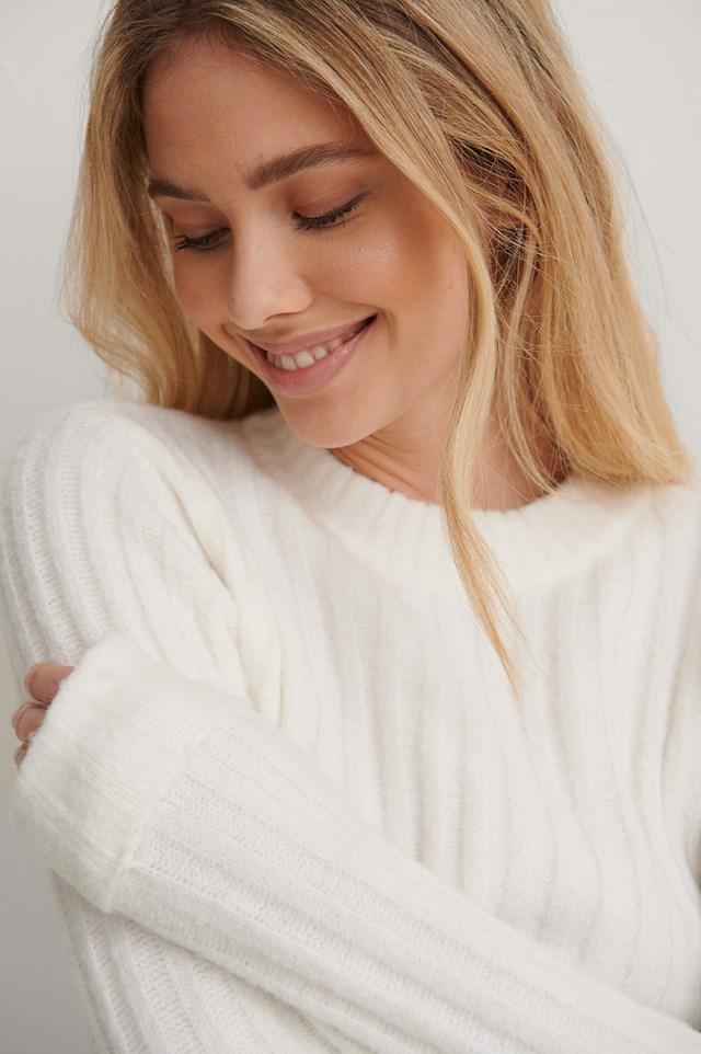 Cream Rib Fluffy Knitted Sweater