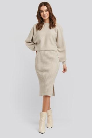 Beige Rib Knitted Skirt